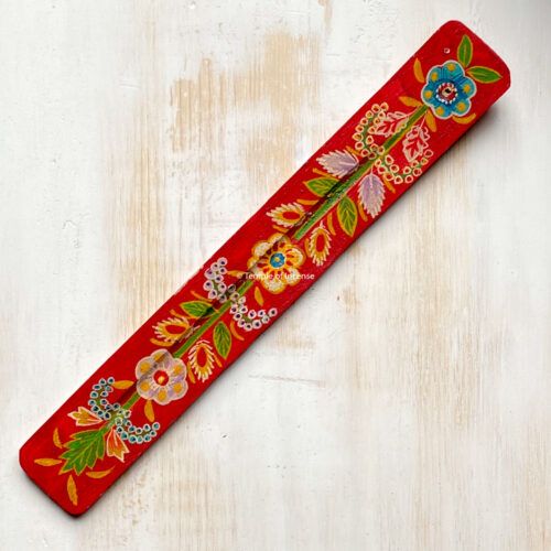 hand-painted wooden incense stick holder - red