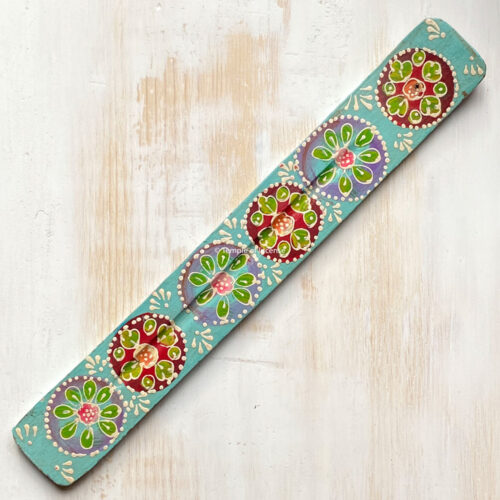 turquoise hand painted wooden incense stick holder