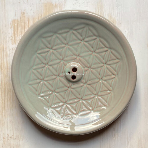 flower of life incense holder blue