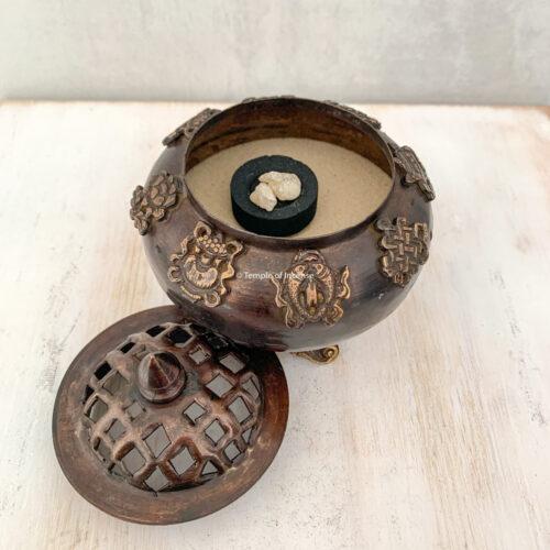 Tibetan 8 auspicious symbols incense burner