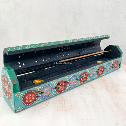Hand painted turquoise wooden incense box