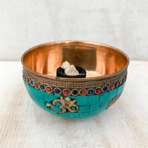 Om copper & turquoise incense burner