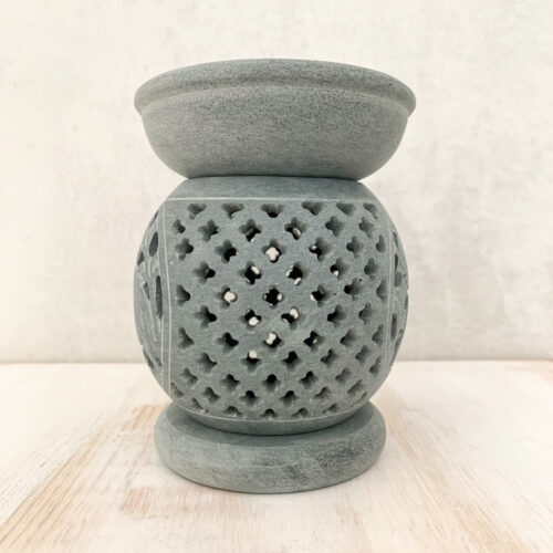 Elephant Soapstone Oil Burner - grey